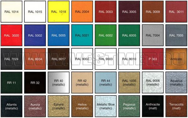 Стандартные цвета покрытий