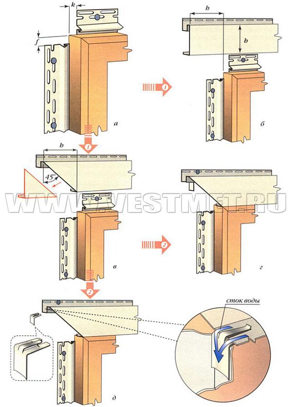 Монтаж обрамлений оконных и дверных проемов из виниловых досок