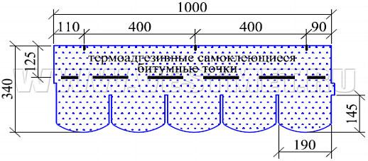 ВЕРОНА - гибкая черепица с базальтовым гранулятом линии Nobil Tile - схема гонта