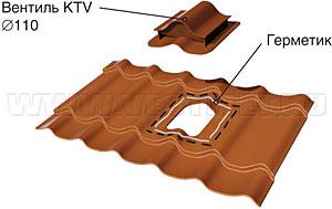 Монтаж вентиля KTV на металлочерепицу МП Монтеррей