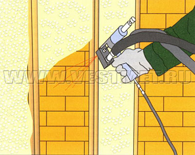 Утепление стен методом напыления